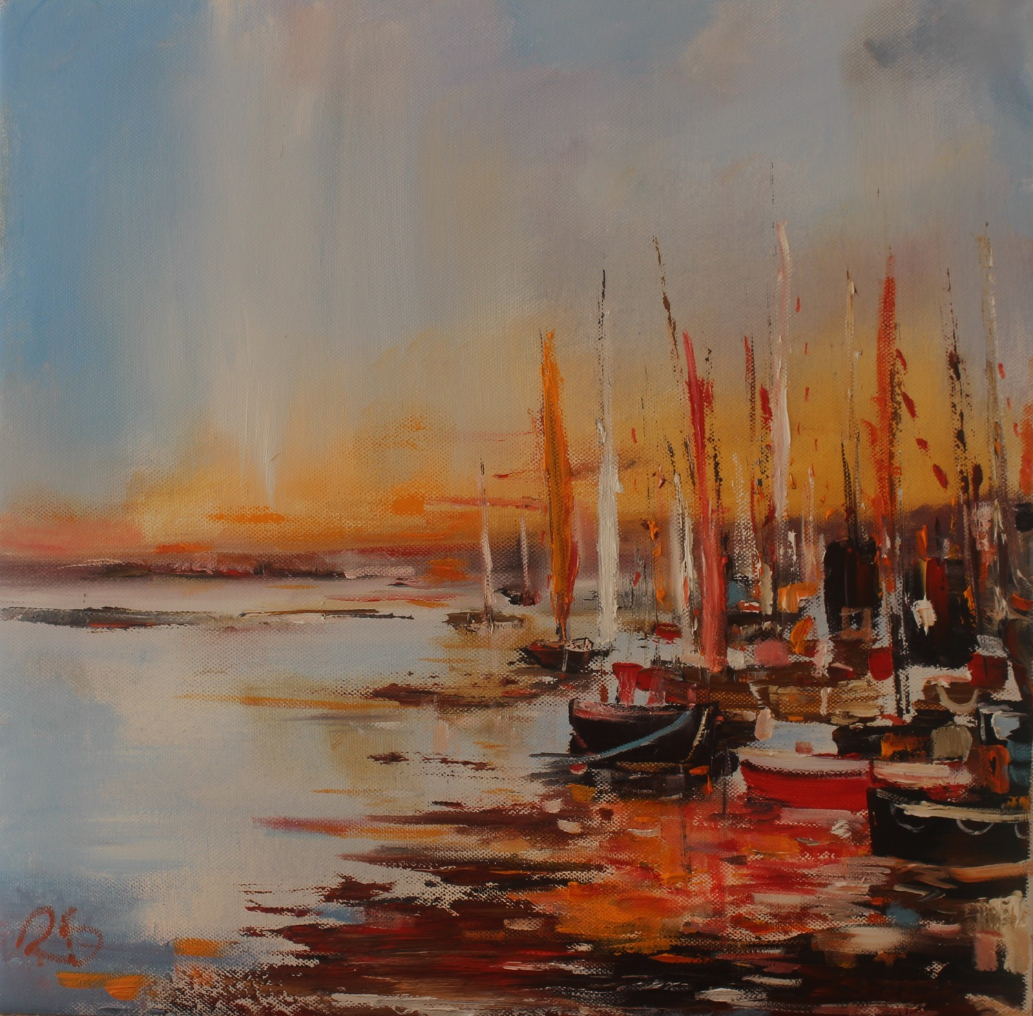 'A Little Guddle of boats' by artist Rosanne Barr