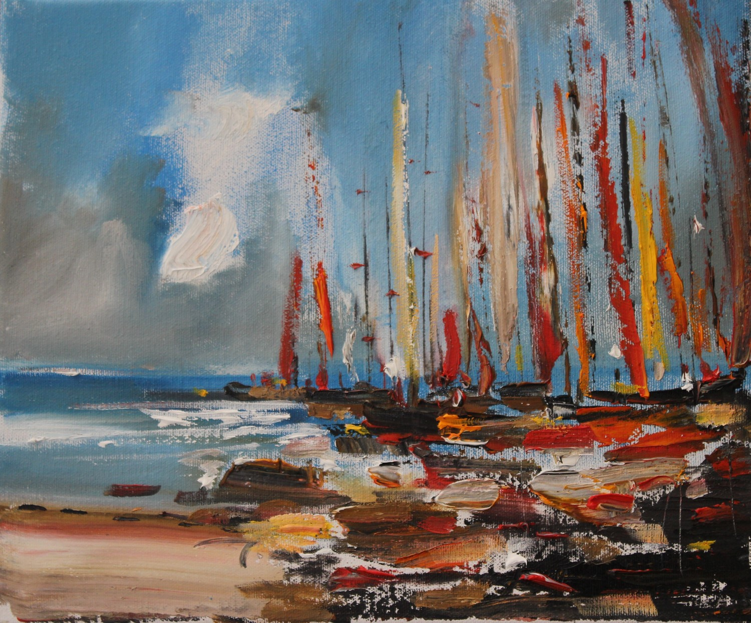 'A Little crowd of boats ' by artist Rosanne Barr