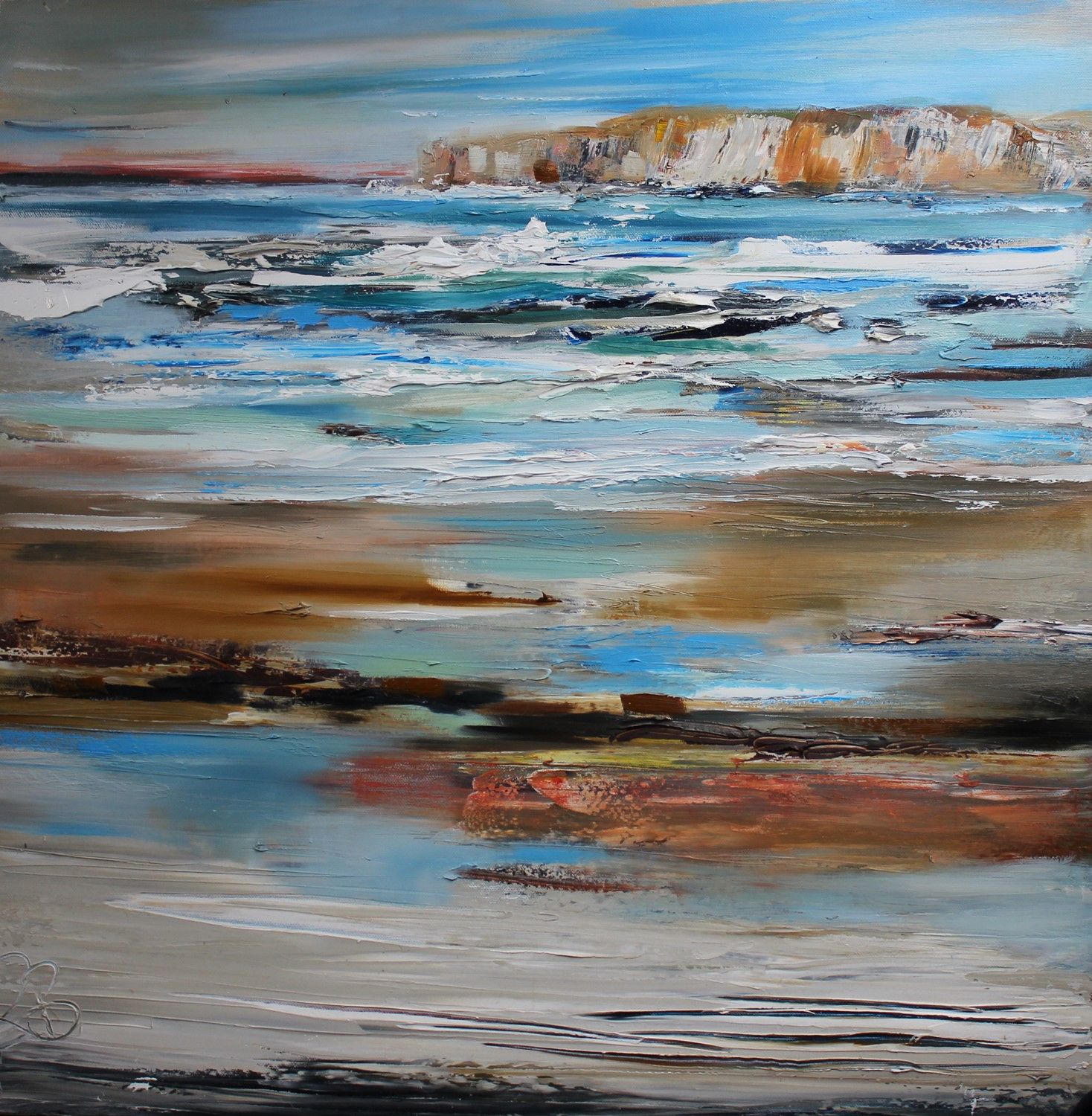 'High Cliffs and Aqua Seas ' by artist Rosanne Barr