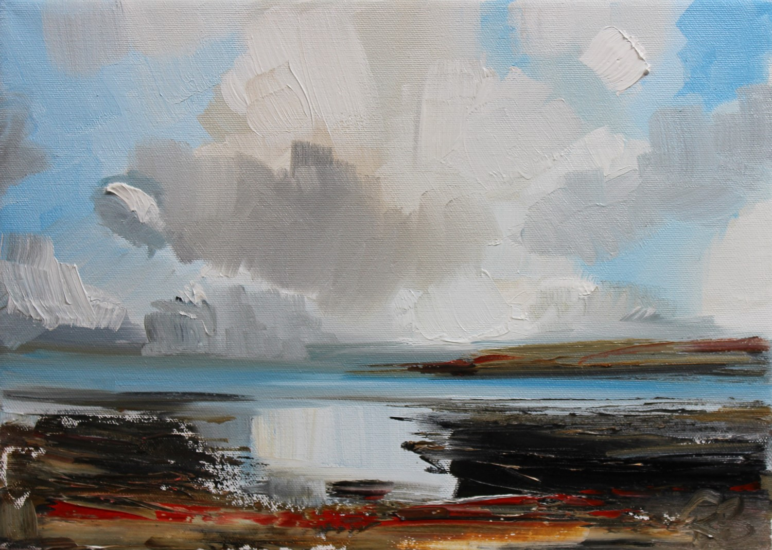 'Fleeting clouds and shore reflections' by artist Rosanne Barr