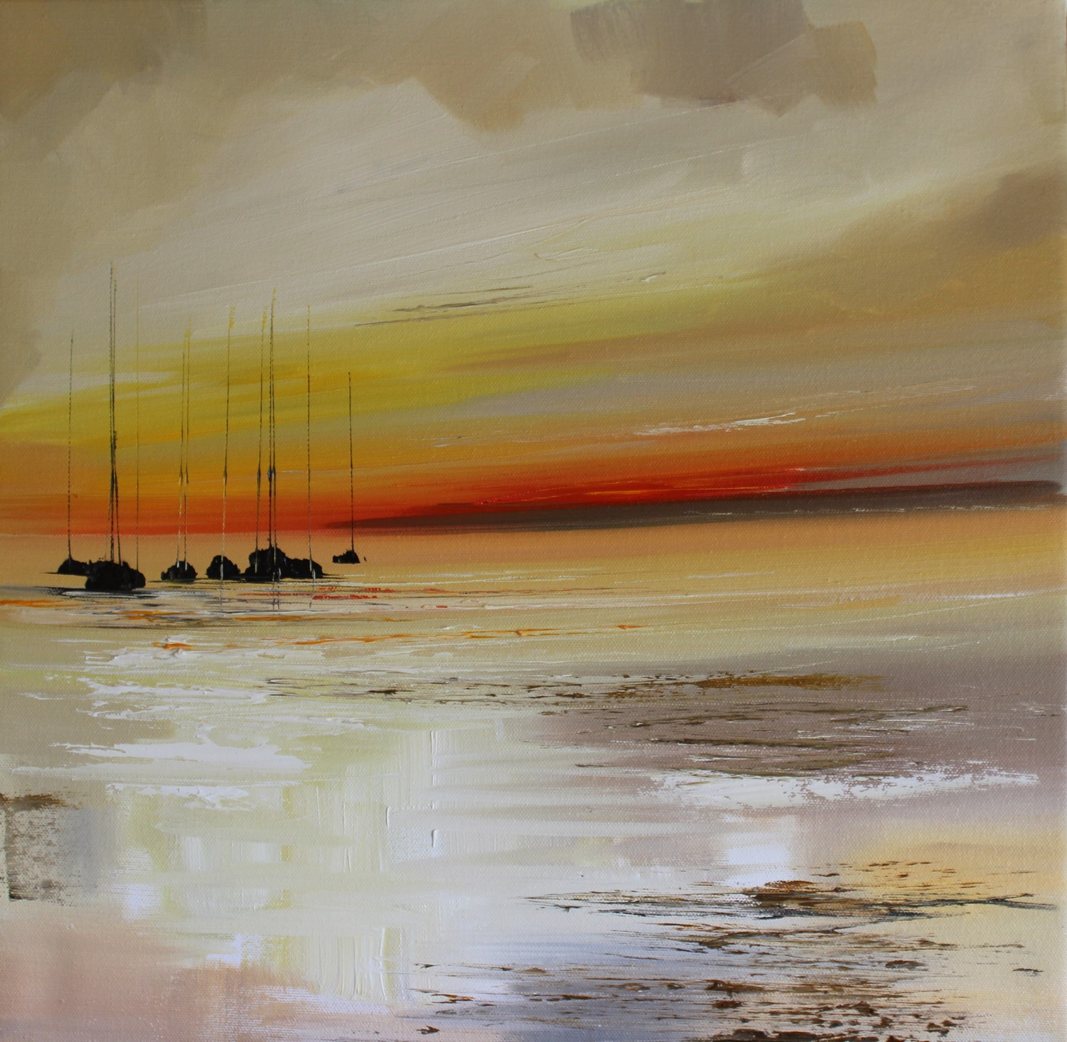 'Seven Yachts at Sunset' by artist Rosanne Barr