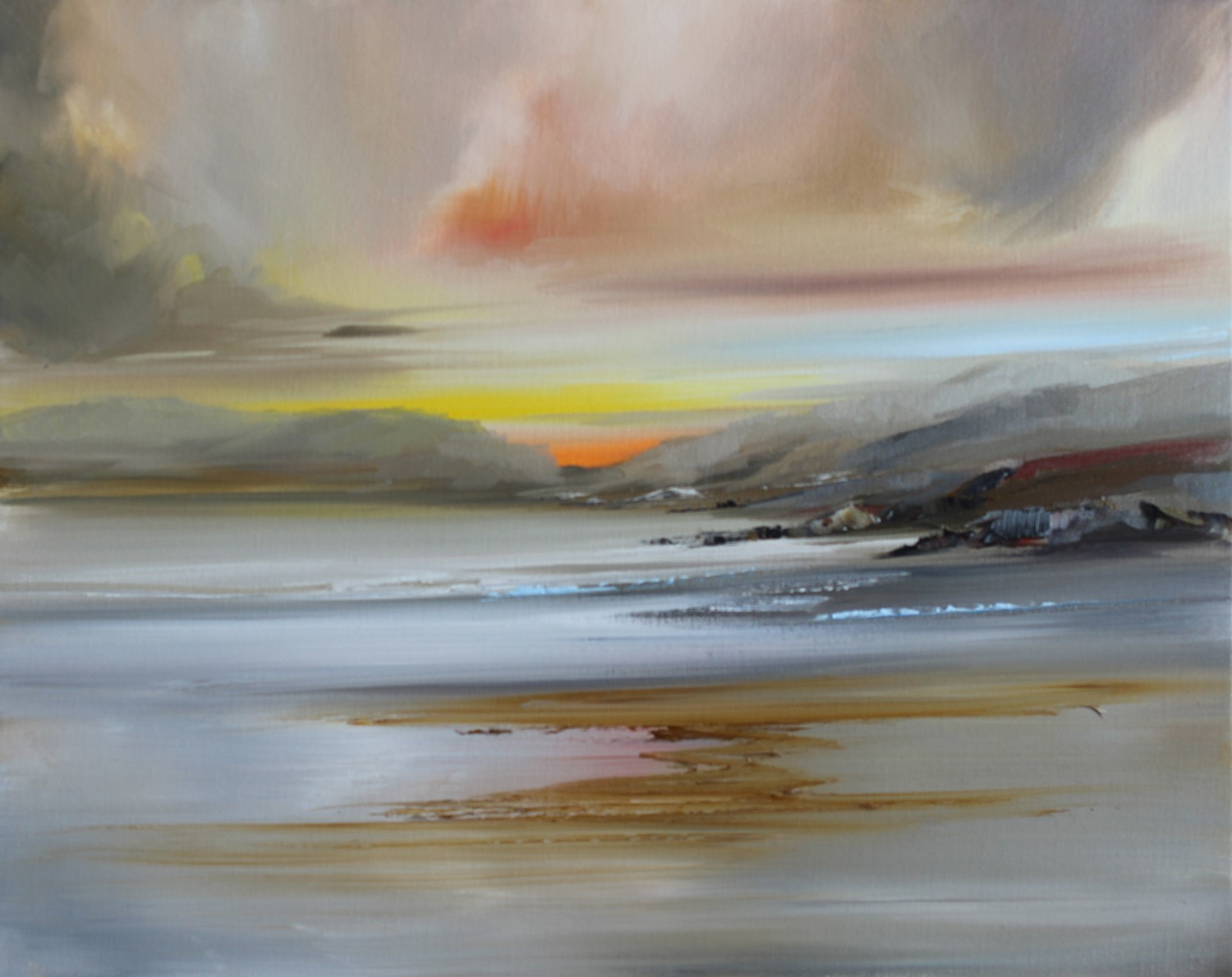 'Hills leading down to the shore' by artist Rosanne Barr
