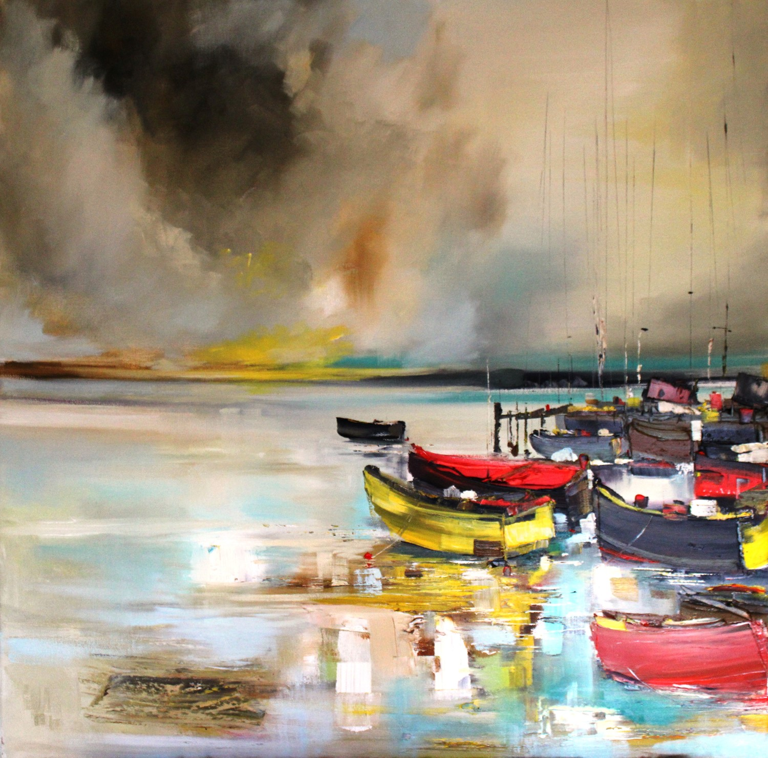 'All Lined up at the Harbour' by artist Rosanne Barr