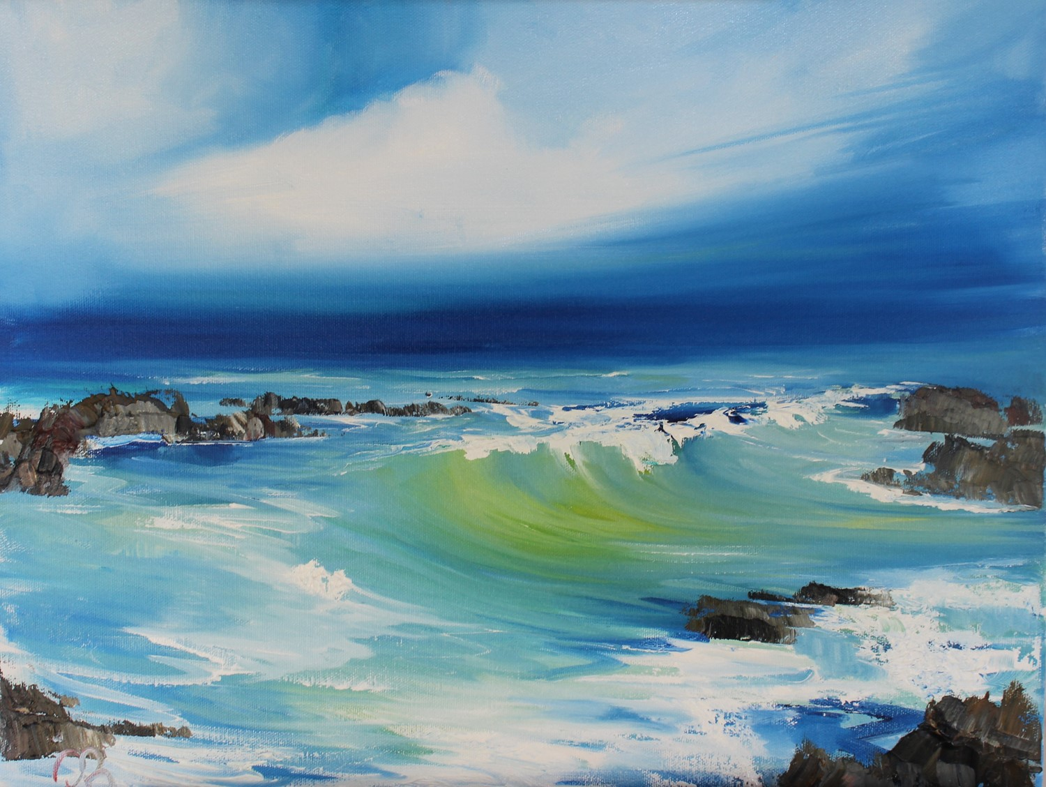 'Waves catching the light ' by artist Rosanne Barr