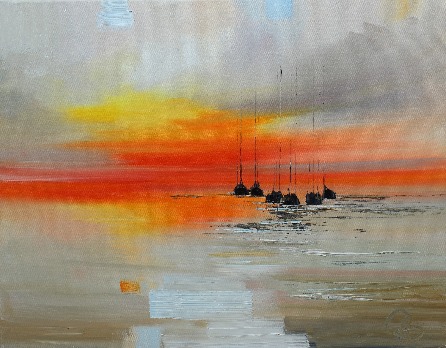 'Yachts All lined up at Sunset' by artist Rosanne Barr