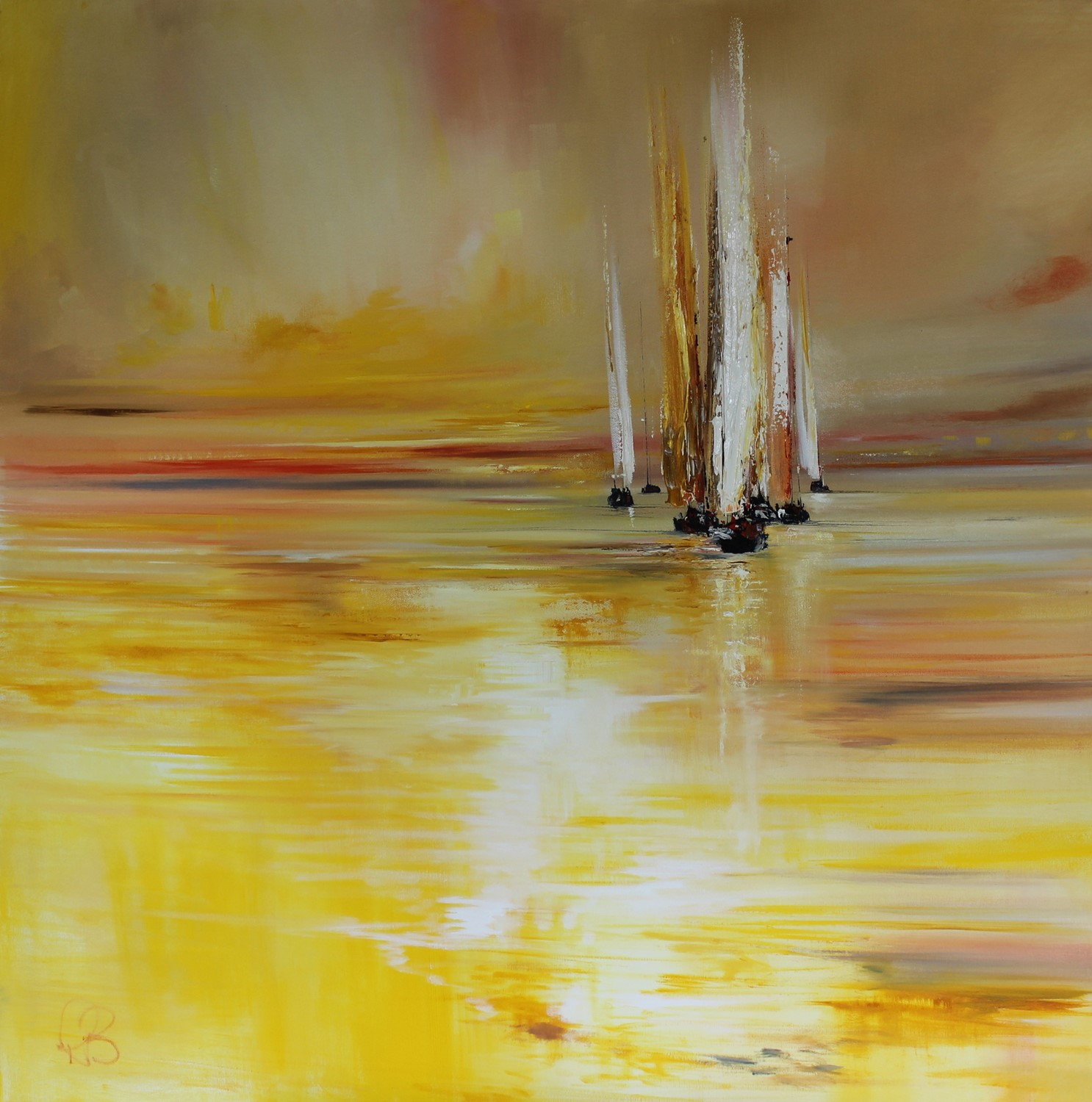 'Yachts and glowing light' by artist Rosanne Barr