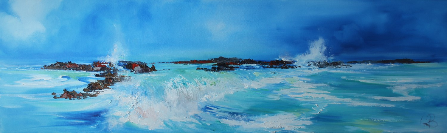'Waves Spilling over the Rocks' by artist Rosanne Barr