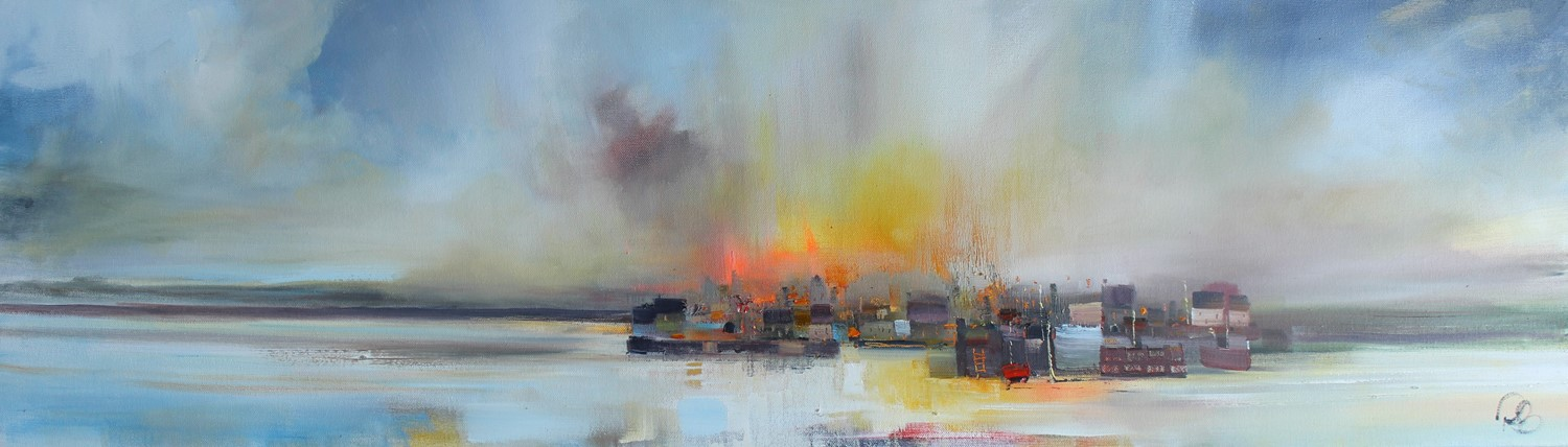 'The harbour lighting up' by artist Rosanne Barr