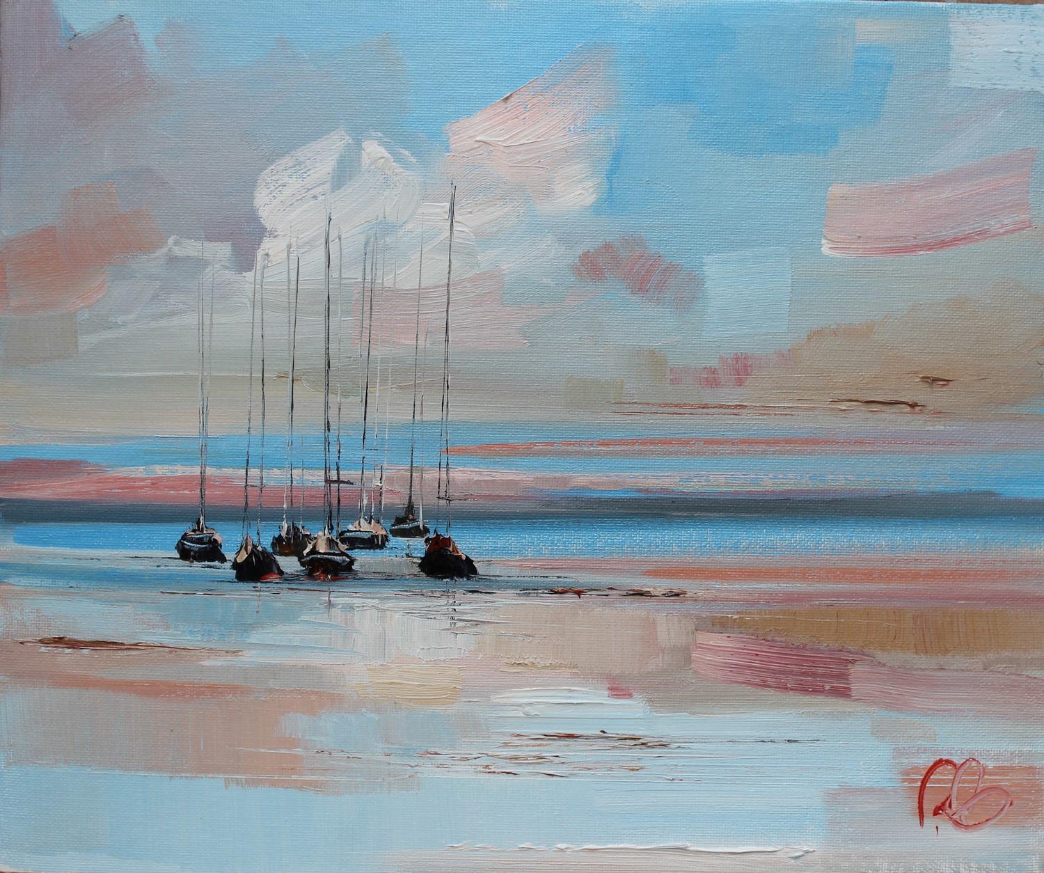 'Yachts after a long Sunset' by artist Rosanne Barr