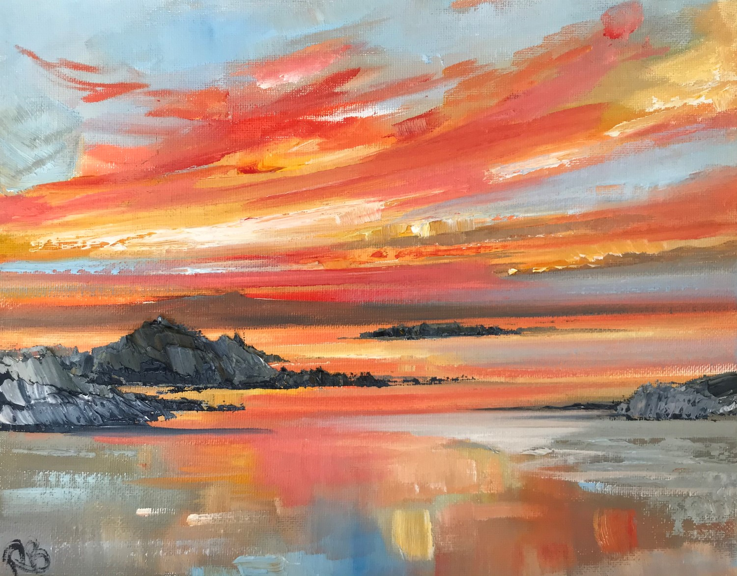 'At The Coast at sunset ' by artist Rosanne Barr