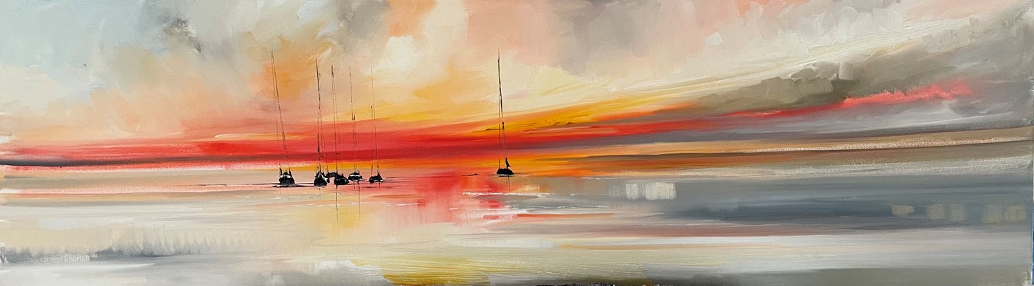 'Yachts docked for sunset' by artist Rosanne Barr
