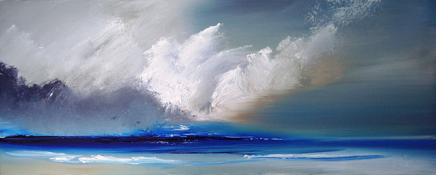 'Converging clouds 120x 60 cm acrylic' by artist Rosanne Barr