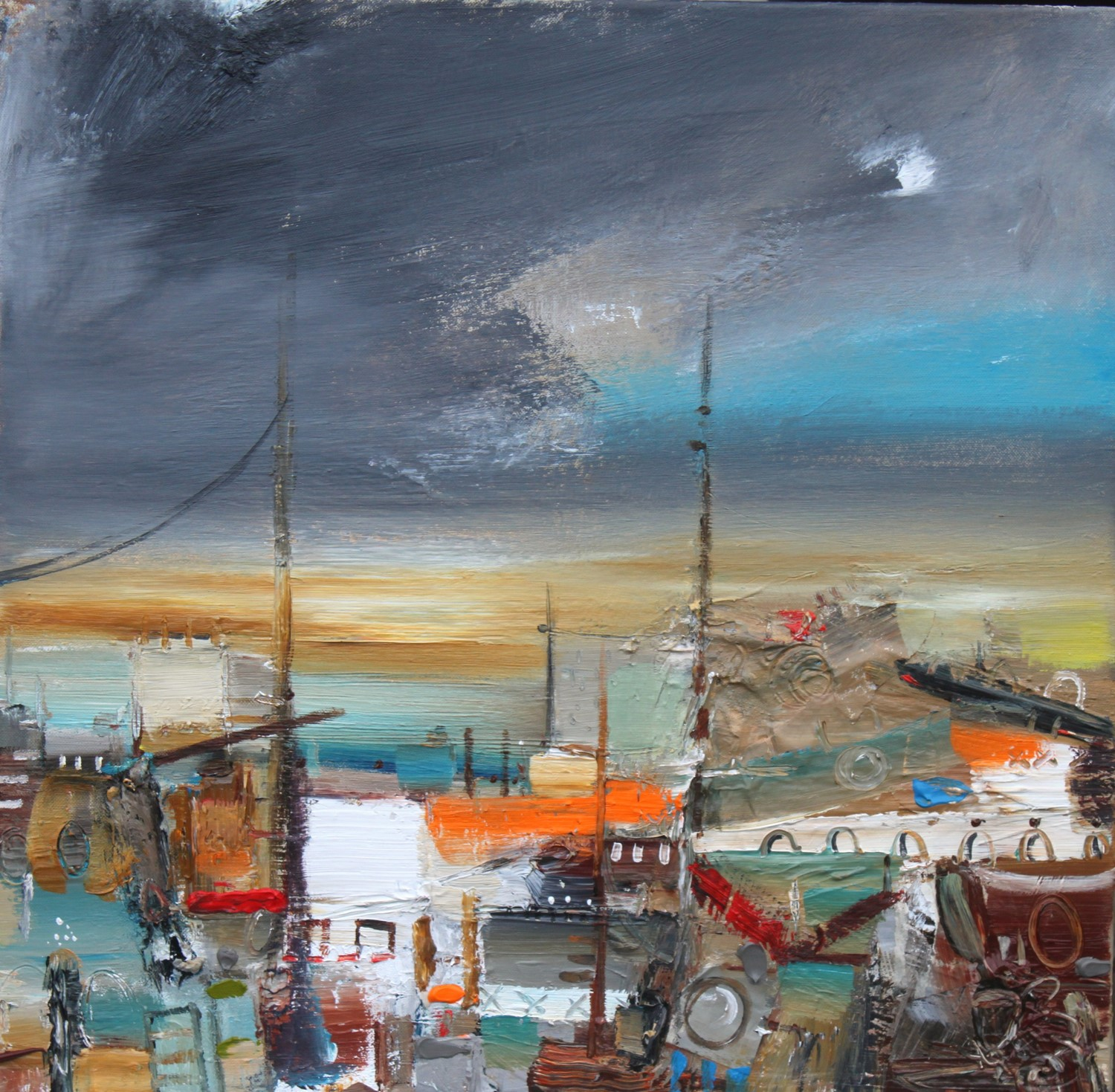 'Night setting on at the harbour' by artist Rosanne Barr